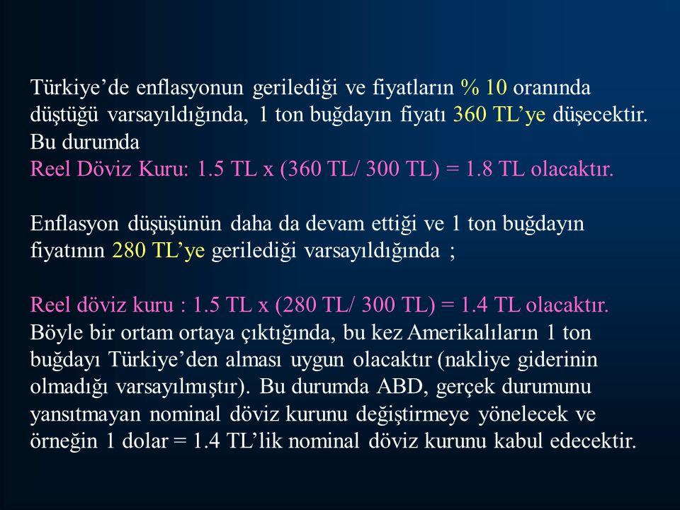 Türkiye'de enflasyonun gerilediği ve fiyatların % 10 oranında düştüğü varsayıldığında, 1 ton buğdayın fiyatı 360 TL'ye düşecektir. Bu durumda Reel Döv