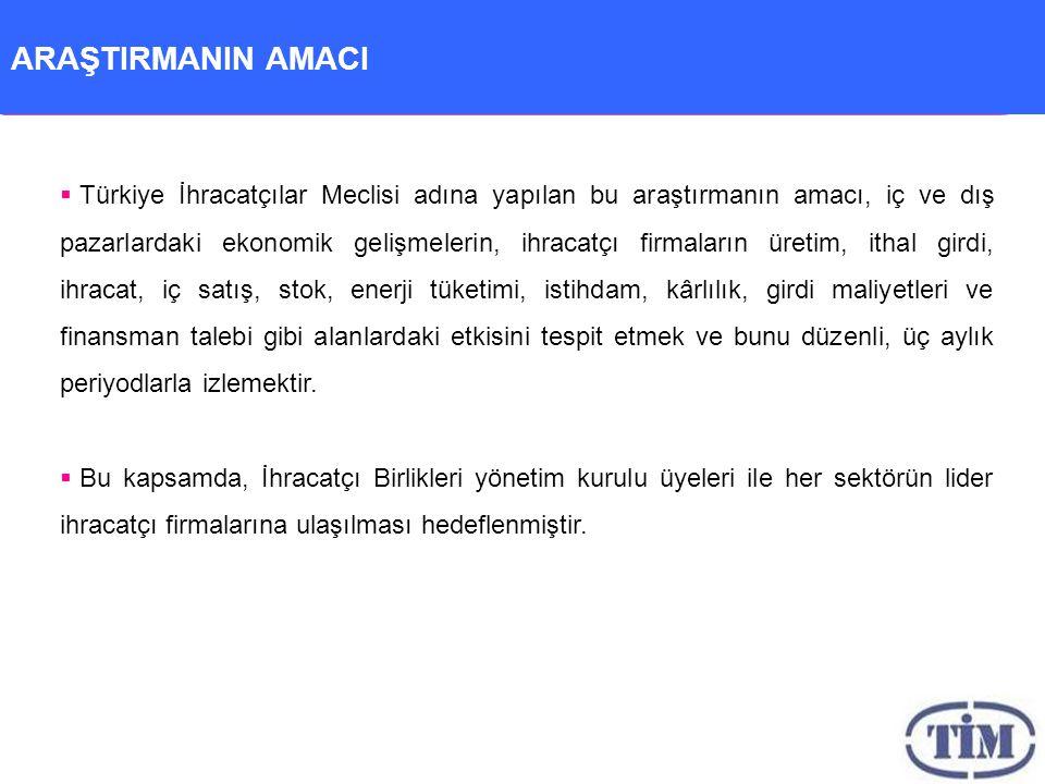 ARAŞTIRMANIN AMACI  Türkiye İhracatçılar Meclisi adına yapılan bu araştırmanın amacı, iç ve dış pazarlardaki ekonomik gelişmelerin, ihracatçı firmaların üretim, ithal girdi, ihracat, iç satış, stok, enerji tüketimi, istihdam, kârlılık, girdi maliyetleri ve finansman talebi gibi alanlardaki etkisini tespit etmek ve bunu düzenli, üç aylık periyodlarla izlemektir.