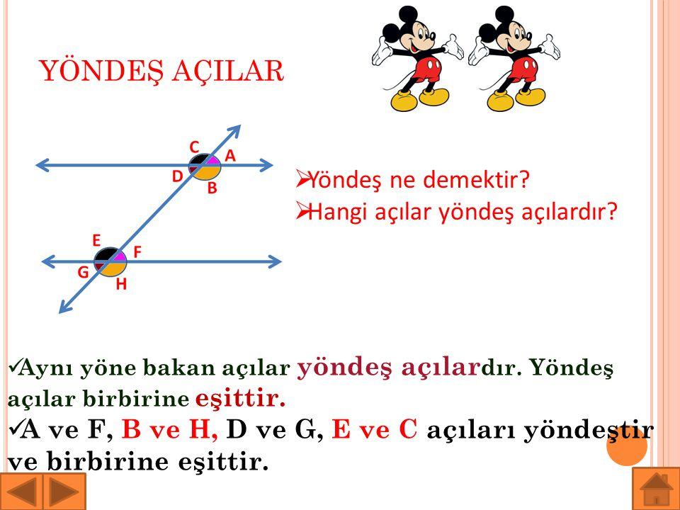 YÖNDEŞ AÇILAR  Yöndeş ne demektir?  Hangi açılar yöndeş açılardır? Aynı yöne bakan açılar yöndeş açılar dır. Yöndeş açılar birbirine eşittir. A ve F