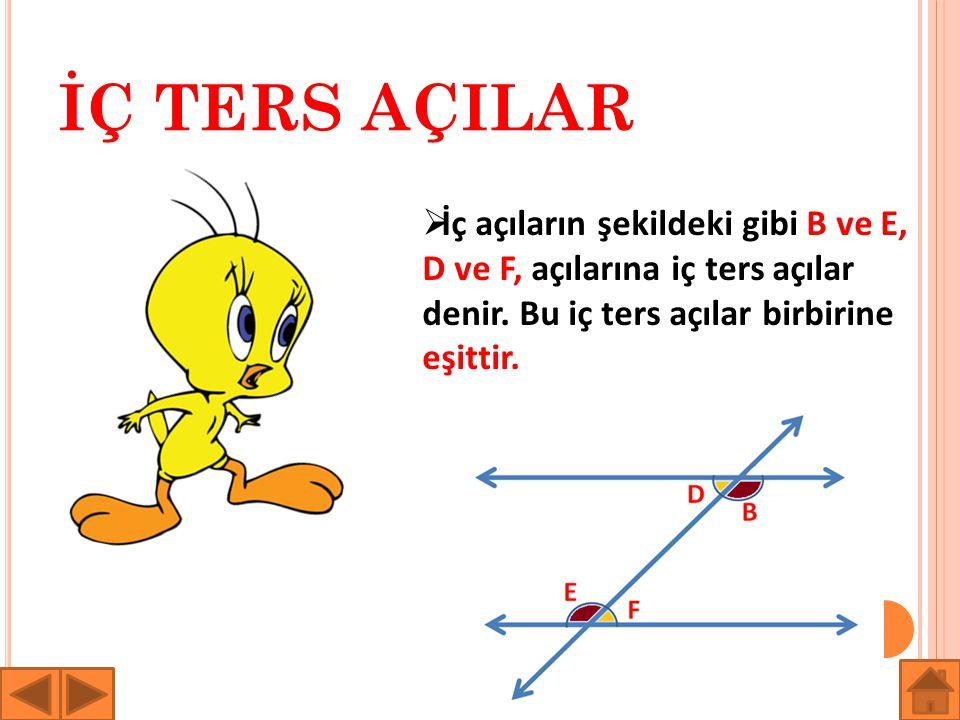 İÇ TERS AÇILAR  İç açıların şekildeki gibi B ve E, D ve F, açılarına iç ters açılar denir. Bu iç ters açılar birbirine eşittir.