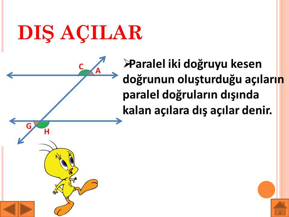 DIŞ AÇILAR  Paralel iki doğruyu kesen doğrunun oluşturduğu açıların paralel doğruların dışında kalan açılara dış açılar denir.