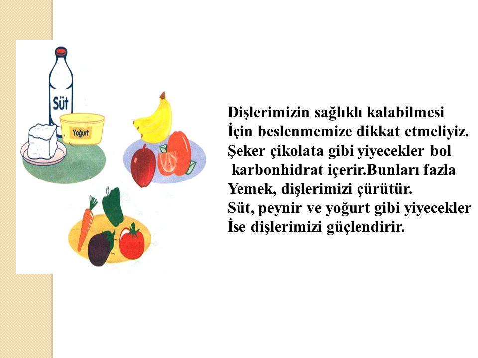 Dişlerimizin sağlıklı kalabilmesi İçin beslenmemize dikkat etmeliyiz.