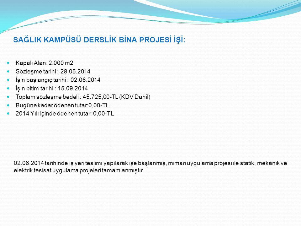 SAĞLIK KAMPÜSÜ DERSLİK BİNA PROJESİ İŞİ: Kapalı Alan: 2.000 m2 Sözleşme tarihi : 28.05.2014 İşin başlangıç tarihi : 02.06.2014 İşin bitim tarihi : 15.09.2014 Toplam sözleşme bedeli : 45.725,00-TL (KDV Dahil) Bugüne kadar ödenen tutar:0,00-TL 2014 Yılı içinde ödenen tutar: 0,00-TL 02.06.2014 tarihinde iş yeri teslimi yapılarak işe başlanmış, mimari uygulama projesi ile statik, mekanik ve elektrik tesisat uygulama projeleri tamamlanmıştır.