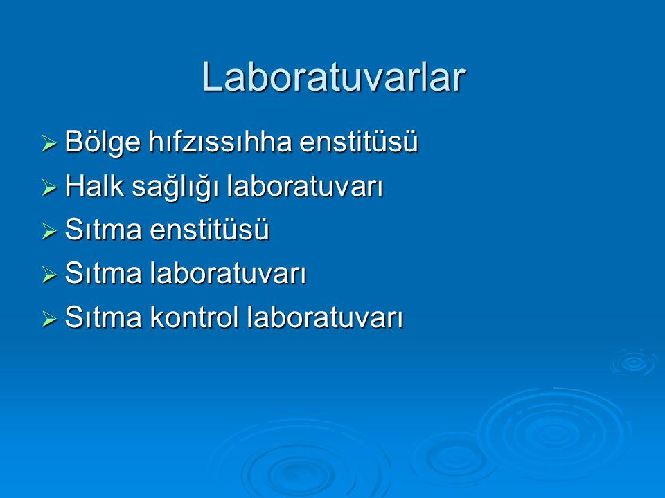 Laboratuvarlar  Bölge hıfzıssıhha enstitüsü  Halk sağlığı laboratuvarı  Sıtma enstitüsü  Sıtma laboratuvarı  Sıtma kontrol laboratuvarı