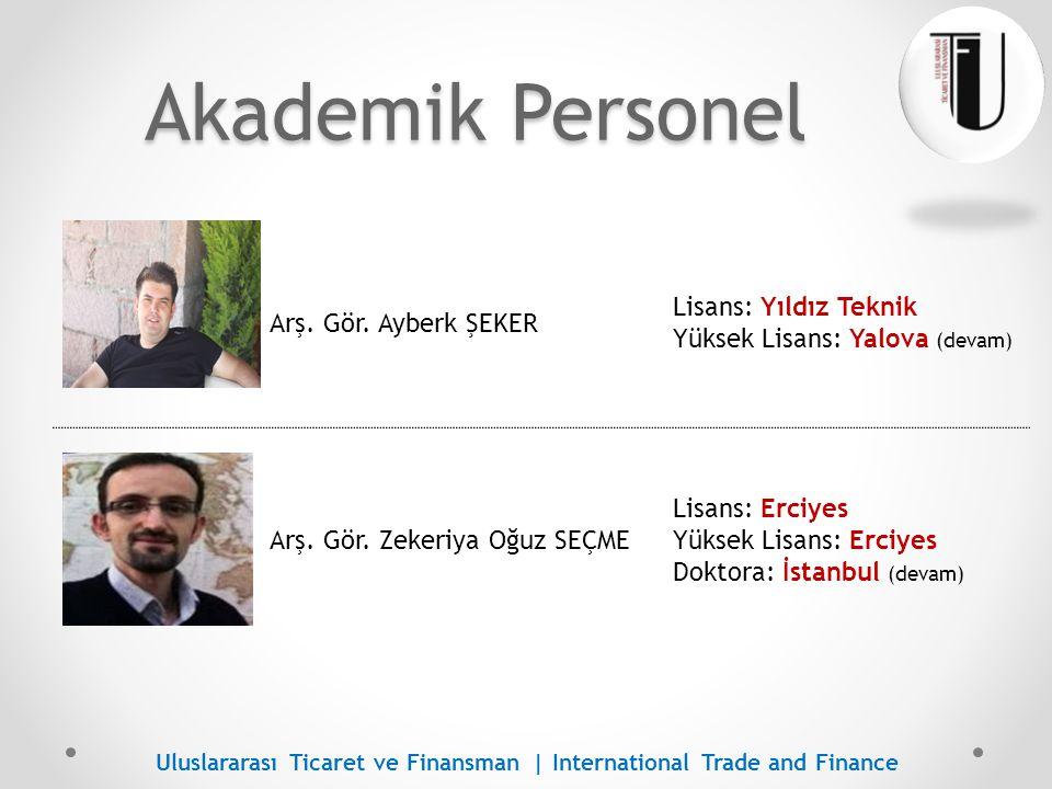 İdari Personel Mete GENCER Lisans: Uludağ Yüksek Lisans: Yalova (devam) Uluslararası Ticaret ve Finansman | International Trade and Finance