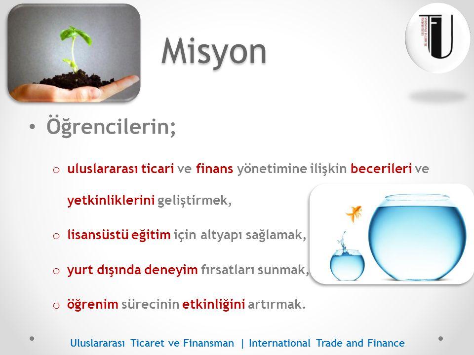 Vizyon UTF alanında Türkiye de ilk tercih edilen ve bu alana yön veren bölüm haline gelmek Uluslararası Ticaret ve Finansman | International Trade and Finance