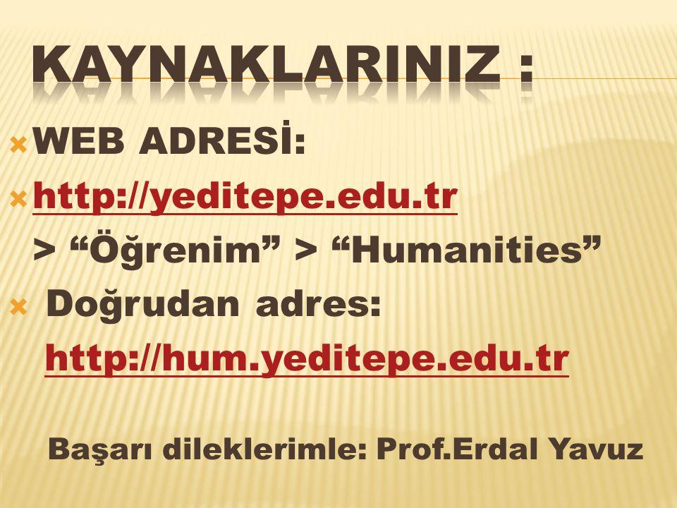  WEB ADRESİ:  http://yeditepe.edu.tr http://yeditepe.edu.tr > Öğrenim > Humanities  Doğrudan adres: http://hum.yeditepe.edu.tr Başarı dileklerimle: Prof.Erdal Yavuz