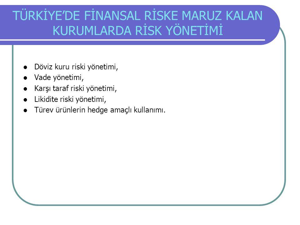 TÜRKİYE'DE FİNANSAL RİSKE MARUZ KALAN KURUMLARDA RİSK YÖNETİMİ Döviz kuru riski yönetimi, Vade yönetimi, Karşı taraf riski yönetimi, Likidite riski yö
