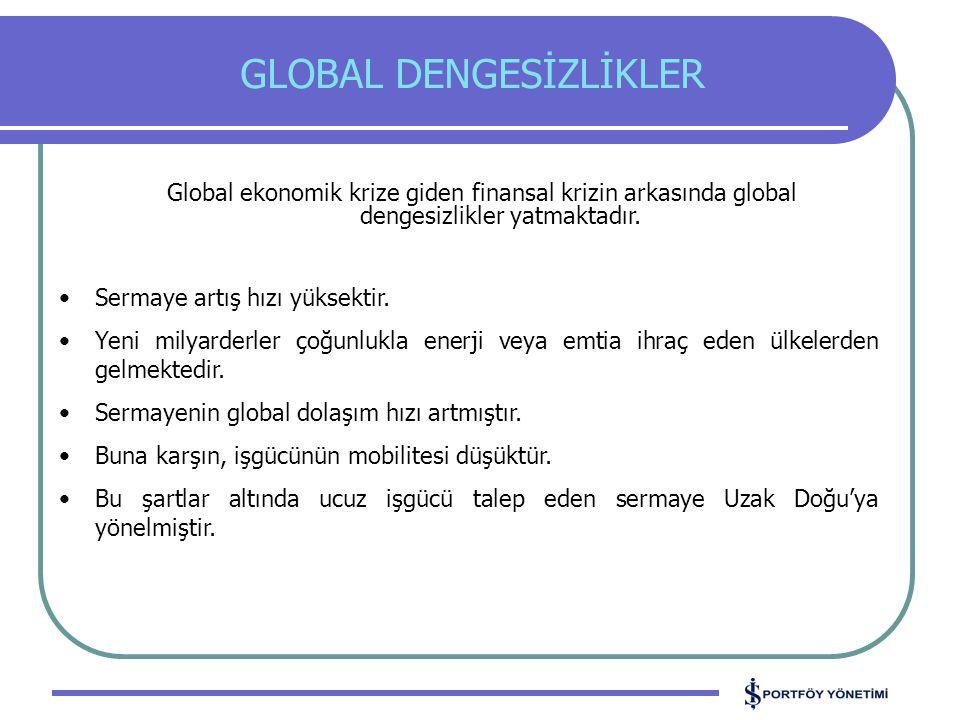 GLOBAL DENGESİZLİKLER Sermaye artış hızı yüksektir.