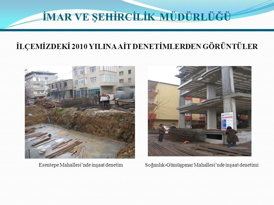İLÇEMİZDEKİ 2010 YILINA AİT DENETİMLERDEN GÖRÜNTÜLER Esentepe Mahallesi'nde inşaat denetim Soğanlık-Gümüşpınar Mahallesi'nde inşaat denetimi İMAR VE Ş