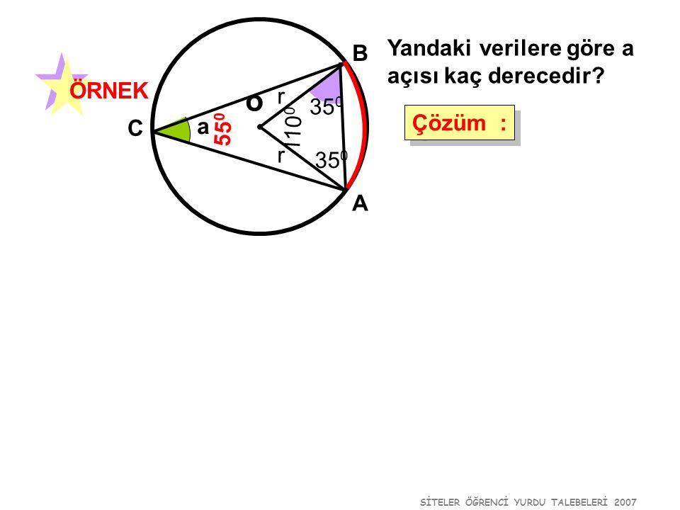 SİTELER ÖĞRENCİ YURDU TALEBELERİ 2007 a /2 o B A C D a Bir çemberde aynı yayı gören çevre açıların ölçüleri eşittir.