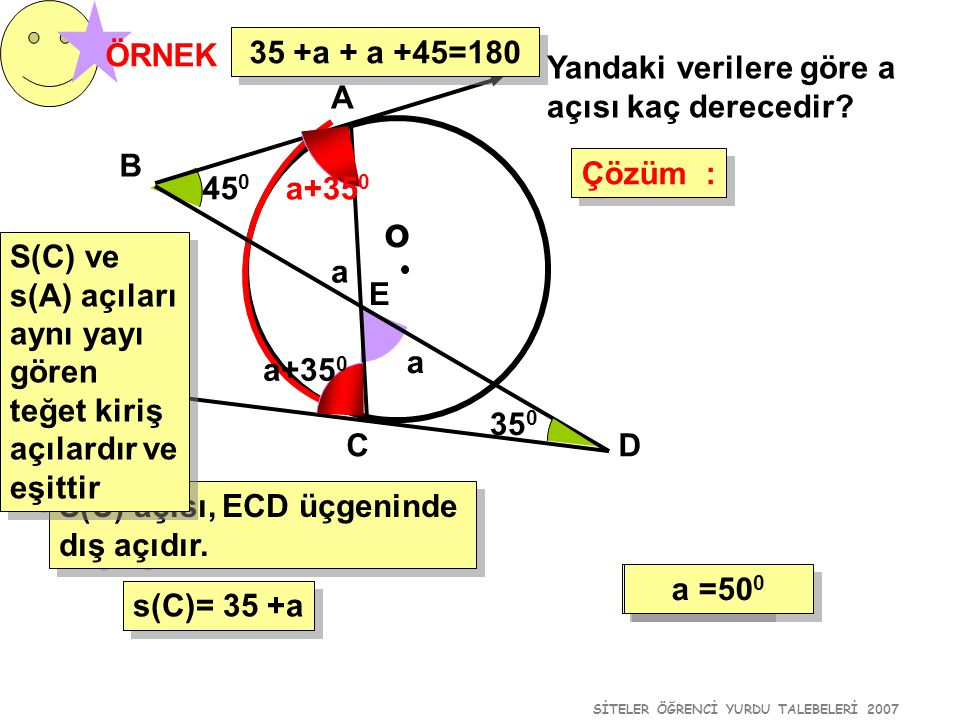 SİTELER ÖĞRENCİ YURDU TALEBELERİ 2007 45 0 o ÖRNEK Yandaki verilere göre a açısı kaç derecedir? Çözüm : Çözüm : 35 0 a A B CD E S(C) açısı, ECD üçgeni