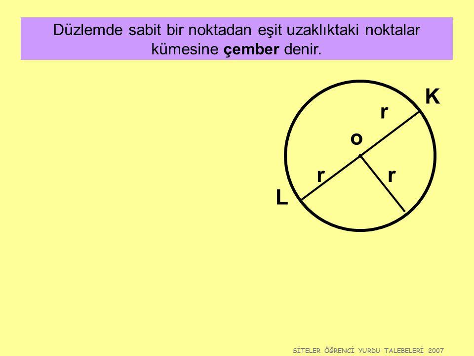 SİTELER ÖĞRENCİ YURDU TALEBELERİ 2007 Düzlemde sabit bir noktadan eşit uzaklıktaki noktalar kümesine çember denir. o r rr L K