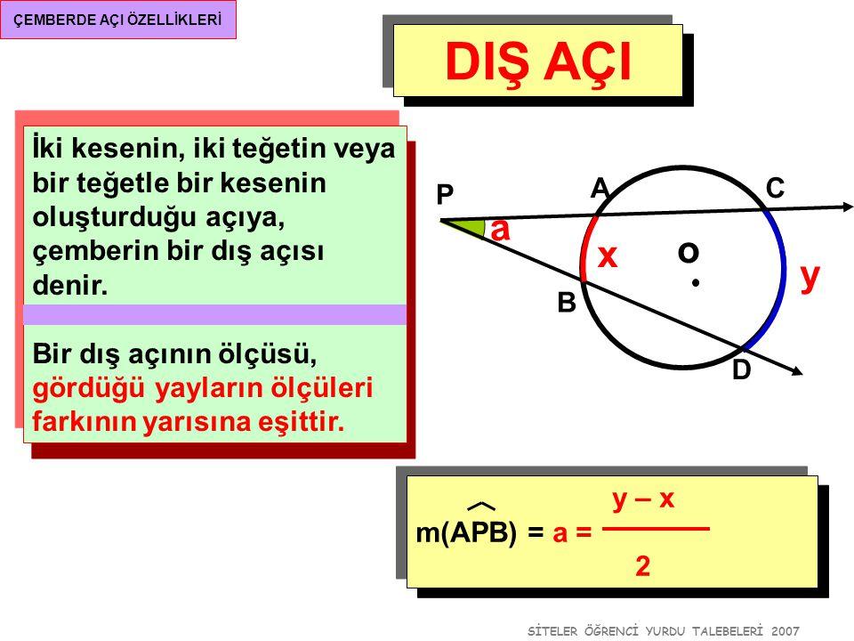 SİTELER ÖĞRENCİ YURDU TALEBELERİ 2007 ÇEMBERDE AÇI ÖZELLİKLERİ DIŞ AÇI [PA ve [PB teğet, o A B P a (y – x) m(APB) = a = 2 y x Burada, x + y = 360° olduğundan, a+x=180 0 dir.