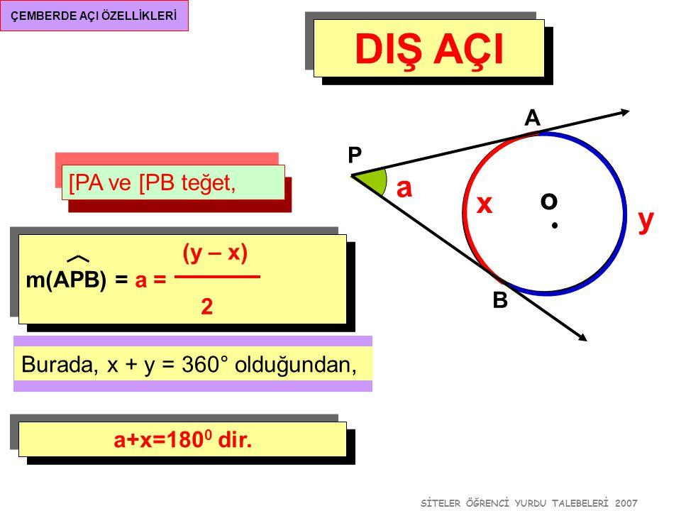 SİTELER ÖĞRENCİ YURDU TALEBELERİ 2007 ÇEMBERDE AÇI ÖZELLİKLERİ DIŞ AÇI [PA ve [PB teğet, o A B P a (y – x) m(APB) = a = 2 y x Burada, x + y = 360° old