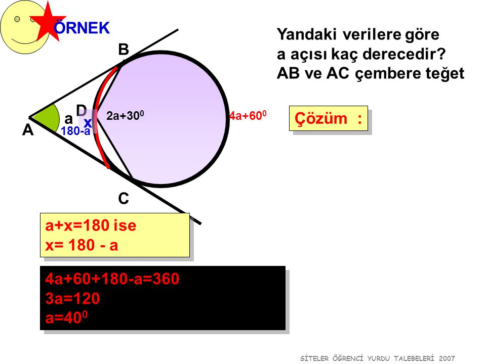 SİTELER ÖĞRENCİ YURDU TALEBELERİ 2007 ÖRNEK Yandaki verilere göre a açısı kaç derecedir? AB ve AC çembere teğet Çözüm : Çözüm : a A B 2a+30 0 4a+60+18