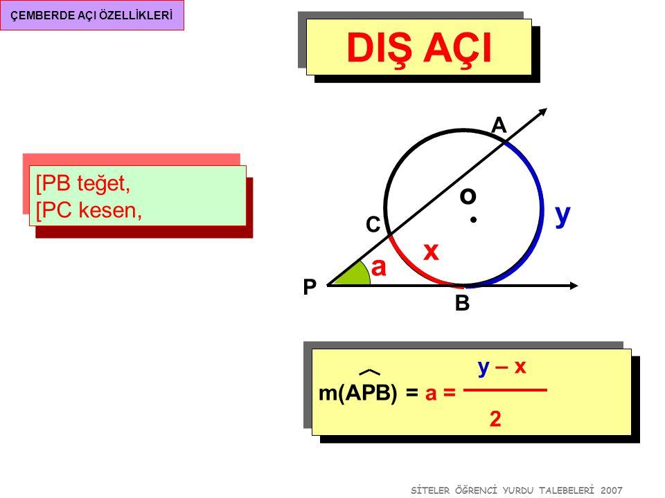 SİTELER ÖĞRENCİ YURDU TALEBELERİ 2007 ÇEMBERDE AÇI ÖZELLİKLERİ DIŞ AÇI O merkezli yarım çemberde, m(APC) = a m(AB) = x o A B P a y – x m(APB) = a = 2 y x C a+x=90 0