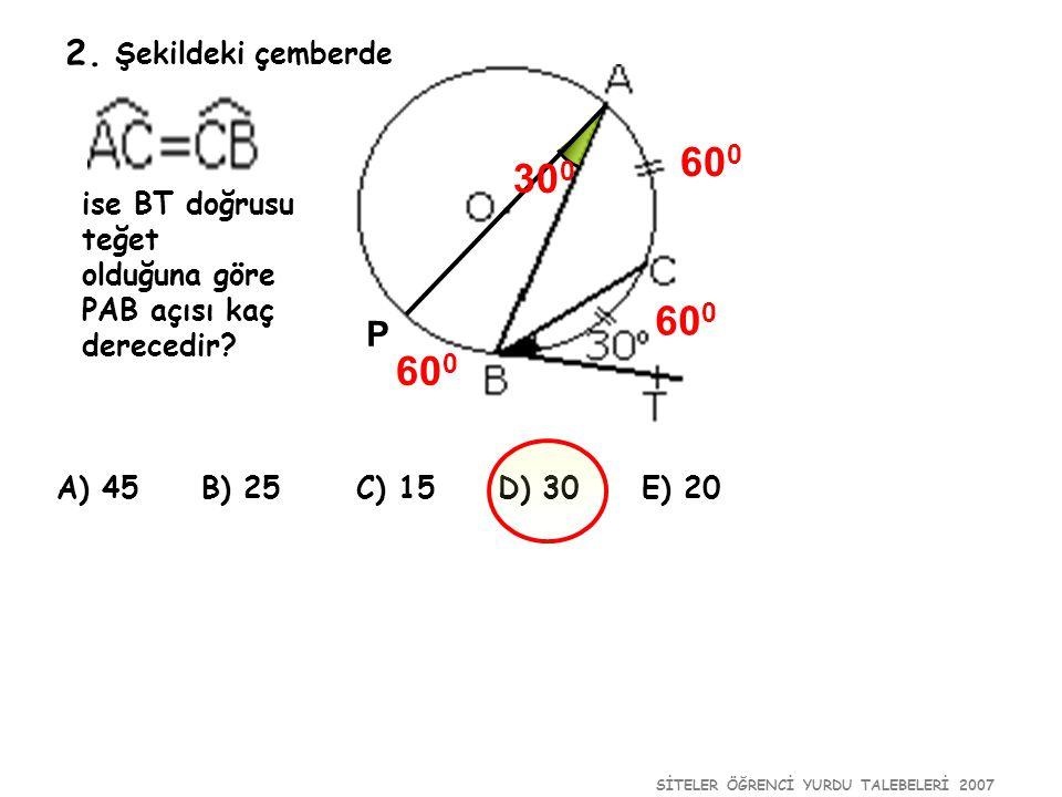 SİTELER ÖĞRENCİ YURDU TALEBELERİ 2007 2. Şekildeki çemberde ise BT doğrusu teğet olduğuna göre PAB açısı kaç derecedir? A) 45 B) 25 C) 15 D) 30 E) 20