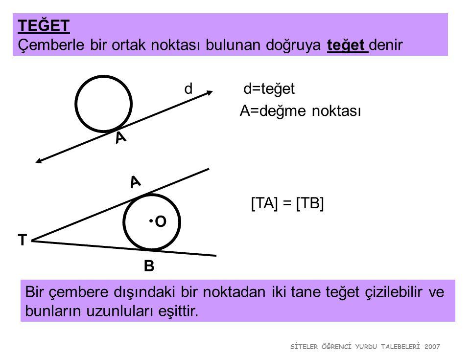 SİTELER ÖĞRENCİ YURDU TALEBELERİ 2007 TEĞET Çemberle bir ortak noktası bulunan doğruya teğet denir d A d=teğet A=değme noktası A B O T Bir çembere dış