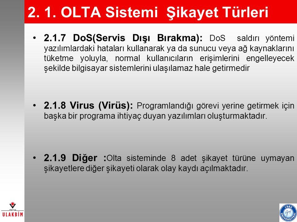 9 2. 1. OLTA Sistemi Şikayet Türleri 2.1.7 DoS(Servis Dışı Bırakma): DoS saldırı yöntemi yazılımlardaki hataları kullanarak ya da sunucu veya ağ kayna
