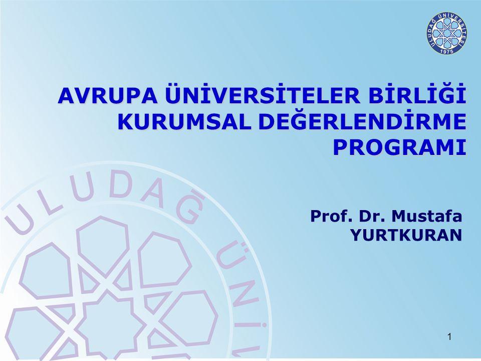 1 AVRUPA ÜNİVERSİTELER BİRLİĞİ KURUMSAL DEĞERLENDİRME PROGRAMI Prof. Dr. Mustafa YURTKURAN