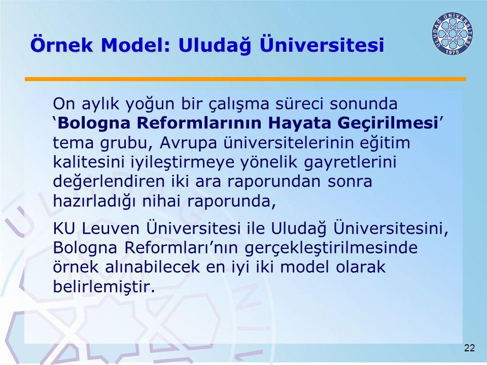 22 Örnek Model: Uludağ Üniversitesi On aylık yoğun bir çalışma süreci sonunda 'Bologna Reformlarının Hayata Geçirilmesi' tema grubu, Avrupa üniversitelerinin eğitim kalitesini iyileştirmeye yönelik gayretlerini değerlendiren iki ara raporundan sonra hazırladığı nihai raporunda, KU Leuven Üniversitesi ile Uludağ Üniversitesini, Bologna Reformları'nın gerçekleştirilmesinde örnek alınabilecek en iyi iki model olarak belirlemiştir.