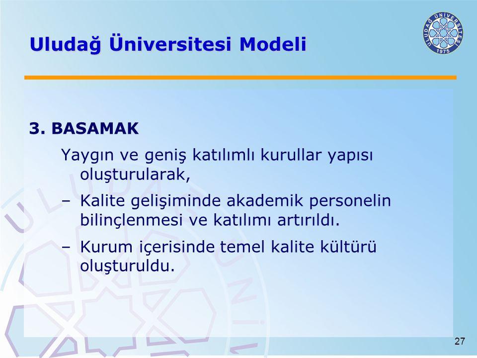 27 Uludağ Üniversitesi Modeli 3. BASAMAK Yaygın ve geniş katılımlı kurullar yapısı oluşturularak, –Kalite gelişiminde akademik personelin bilinçlenmes