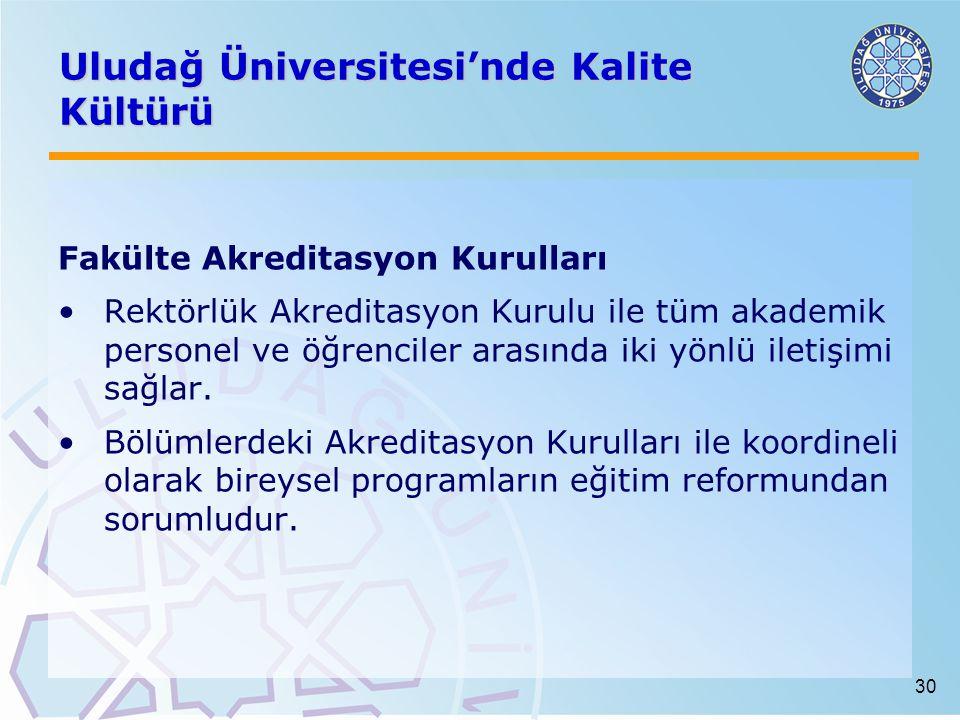 30 Uludağ Üniversitesi'nde Kalite Kültürü Fakülte Akreditasyon Kurulları Rektörlük Akreditasyon Kurulu ile tüm akademik personel ve öğrenciler arasında iki yönlü iletişimi sağlar.