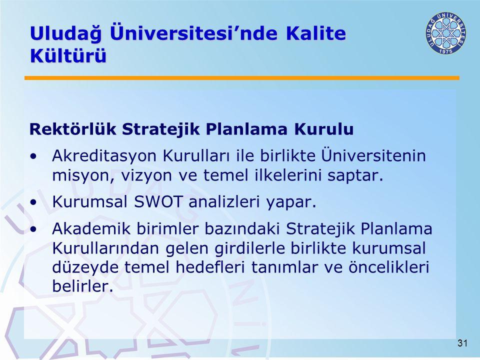31 Uludağ Üniversitesi'nde Kalite Kültürü Rektörlük Stratejik Planlama Kurulu Akreditasyon Kurulları ile birlikte Üniversitenin misyon, vizyon ve temel ilkelerini saptar.