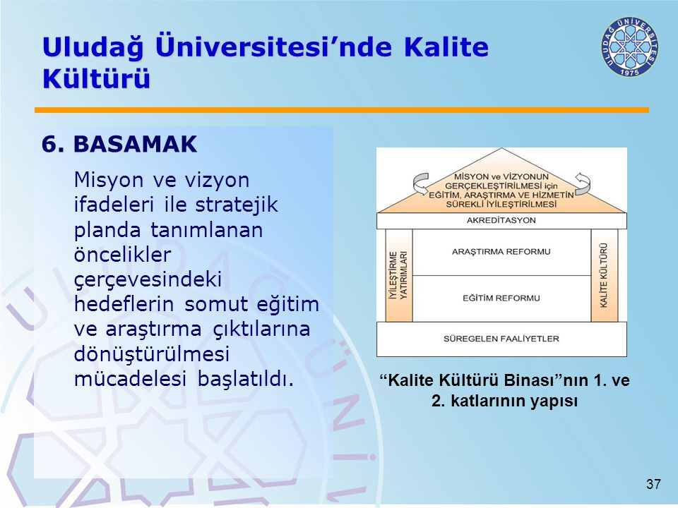 37 Uludağ Üniversitesi'nde Kalite Kültürü 6. BASAMAK Misyon ve vizyon ifadeleri ile stratejik planda tanımlanan öncelikler çerçevesindeki hedeflerin s