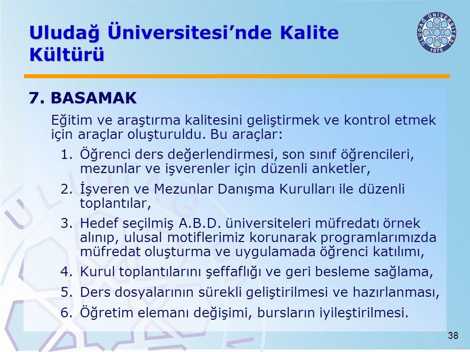 38 Uludağ Üniversitesi'nde Kalite Kültürü 7. BASAMAK Eğitim ve araştırma kalitesini geliştirmek ve kontrol etmek için araçlar oluşturuldu. Bu araçlar: