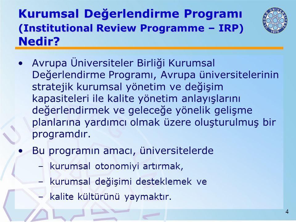 4 Kurumsal Değerlendirme Programı (Institutional Review Programme – IRP) Nedir? Avrupa Üniversiteler Birliği Kurumsal Değerlendirme Programı, Avrupa ü