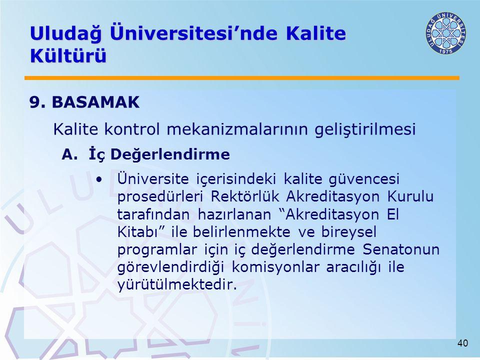 40 Uludağ Üniversitesi'nde Kalite Kültürü 9.