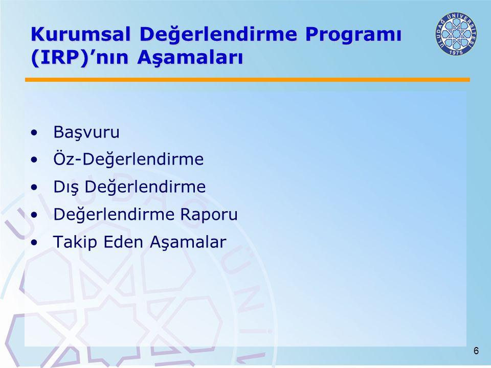 6 Kurumsal Değerlendirme Programı (IRP)'nın Aşamaları Başvuru Öz-Değerlendirme Dış Değerlendirme Değerlendirme Raporu Takip Eden Aşamalar