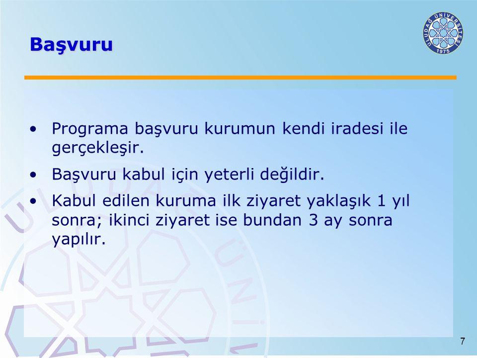7 Başvuru Programa başvuru kurumun kendi iradesi ile gerçekleşir.