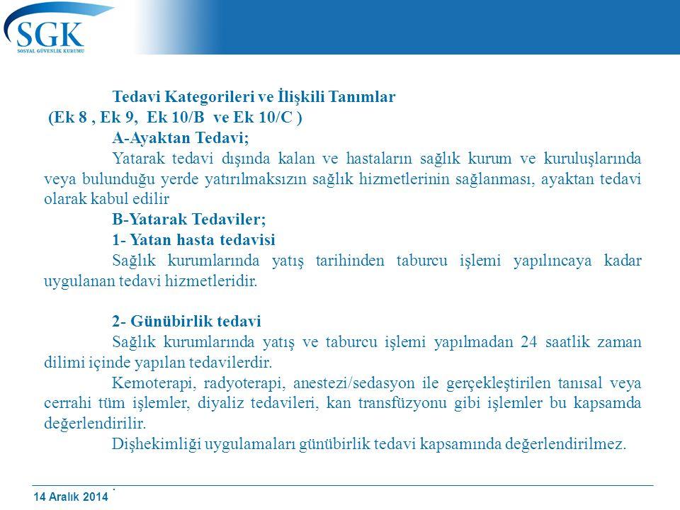 14 Aralık 2014 Tedavi Kategorileri ve İlişkili Tanımlar (Ek 8, Ek 9, Ek 10/B ve Ek 10/C ) A-Ayaktan Tedavi; Yatarak tedavi dışında kalan ve hastaların