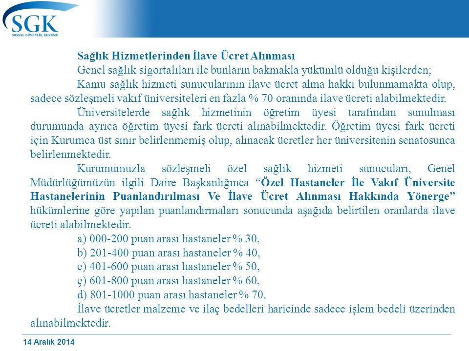 14 Aralık 2014 Sağlık Hizmetlerinden İlave Ücret Alınması Genel sağlık sigortalıları ile bunların bakmakla yükümlü olduğu kişilerden; Kamu sağlık hizm