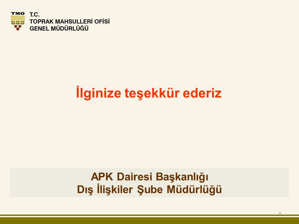 8 APK Dairesi Başkanlığı Dış İlişkiler Şube Müdürlüğü İlginize teşekkür ederiz
