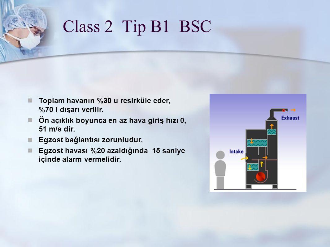 www.metisafe.com Class 2 Tip B1 BSC Toplam havanın %30 u resirküle eder, %70 i dışarı verilir. Ön açıklık boyunca en az hava giriş hızı 0, 51 m/s dir.