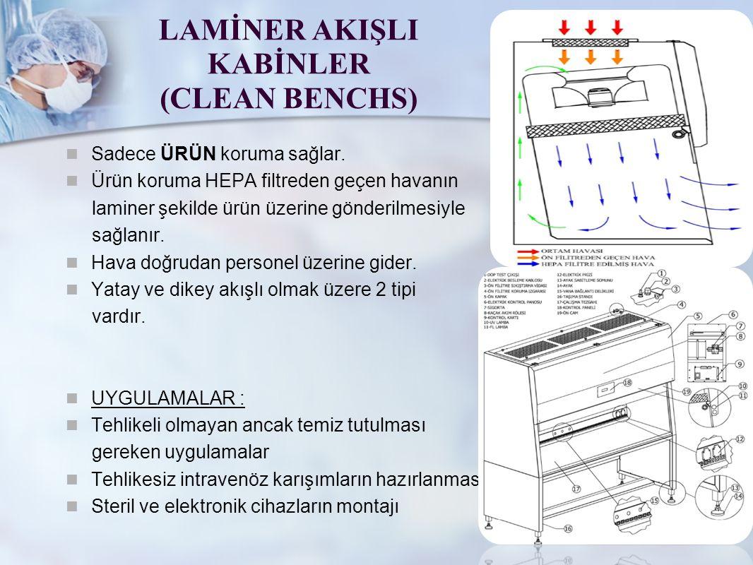 LAMİNER AKIŞLI KABİNLER (CLEAN BENCHS) Sadece ÜRÜN koruma sağlar. Ürün koruma HEPA filtreden geçen havanın laminer şekilde ürün üzerine gönderilmesiyl