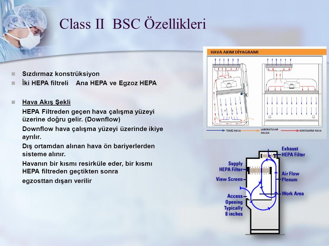 Class II BSC Özellikleri Sızdırmaz konstrüksiyon İki HEPA filtreli Ana HEPA ve Egzoz HEPA Hava Akış Şekli HEPA Filtreden geçen hava çalışma yüzeyi üze