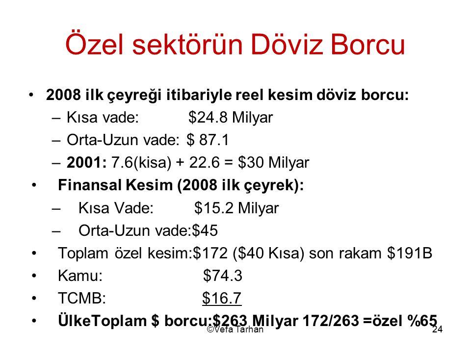 24 Özel sektörün Döviz Borcu 2008 ilk çeyreği itibariyle reel kesim döviz borcu: –Kısa vade: $24.8 Milyar –Orta-Uzun vade: $ 87.1 –2001: 7.6(kisa) + 2