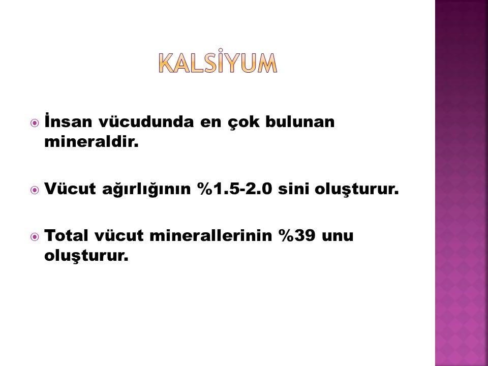  İnsan vücudunda en çok bulunan mineraldir.  Vücut ağırlığının %1.5-2.0 sini oluşturur.  Total vücut minerallerinin %39 unu oluşturur.