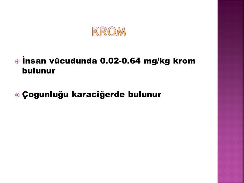  İnsan vücudunda 0.02-0.64 mg/kg krom bulunur  Çogunluğu karaciğerde bulunur
