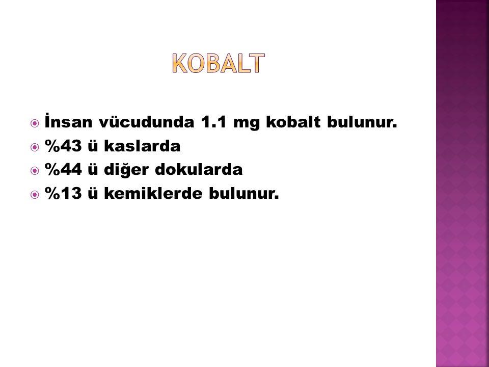 İnsan vücudunda 1.1 mg kobalt bulunur.  %43 ü kaslarda  %44 ü diğer dokularda  %13 ü kemiklerde bulunur.