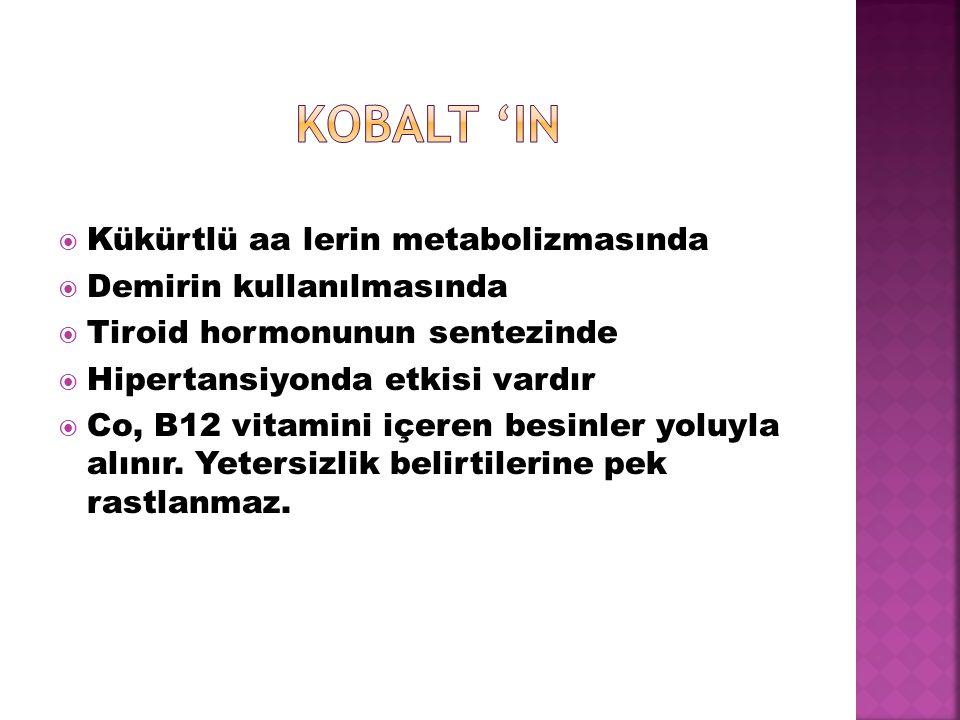  Kükürtlü aa lerin metabolizmasında  Demirin kullanılmasında  Tiroid hormonunun sentezinde  Hipertansiyonda etkisi vardır  Co, B12 vitamini içere