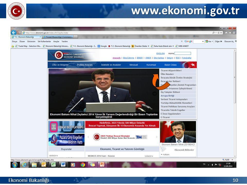 Ekonomi Bakanlığı 10 www.ekonomi.gov.tr