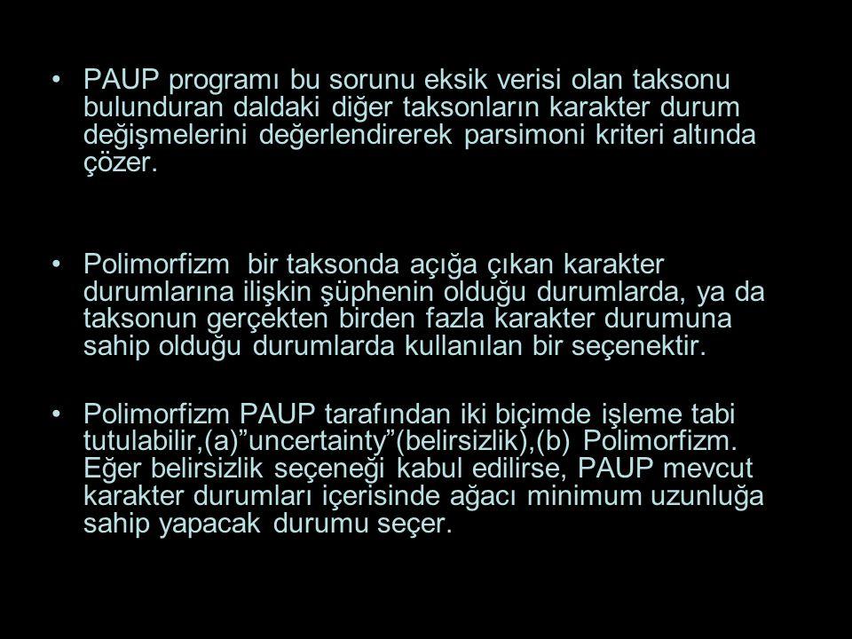 PAUP programı bu sorunu eksik verisi olan taksonu bulunduran daldaki diğer taksonların karakter durum değişmelerini değerlendirerek parsimoni kriteri