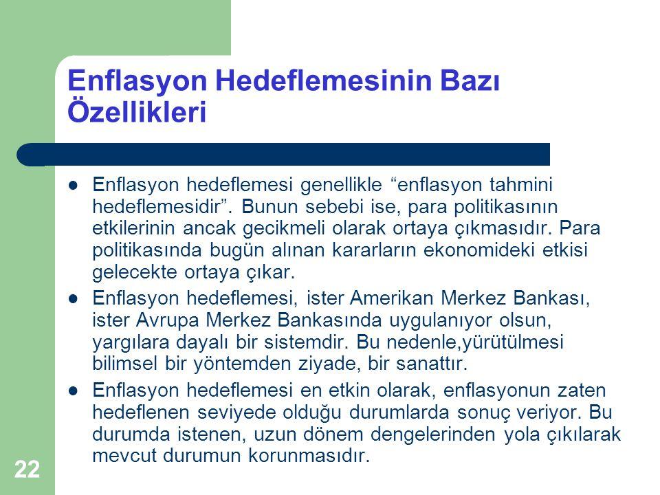 22 Enflasyon Hedeflemesinin Bazı Özellikleri Enflasyon hedeflemesi genellikle enflasyon tahmini hedeflemesidir .
