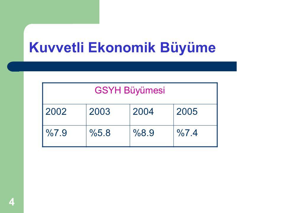 4 Kuvvetli Ekonomik Büyüme GSYH Büyümesi 2002200320042005 %7.9%5.8%8.9%7.4